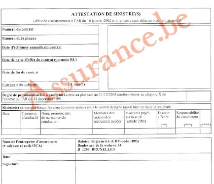 attestation de sinistre bonus malus assurance belgique. Black Bedroom Furniture Sets. Home Design Ideas