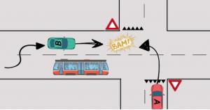 dépassement carrefour tram